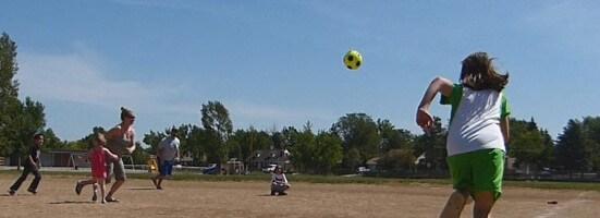 Tedescos play kickball
