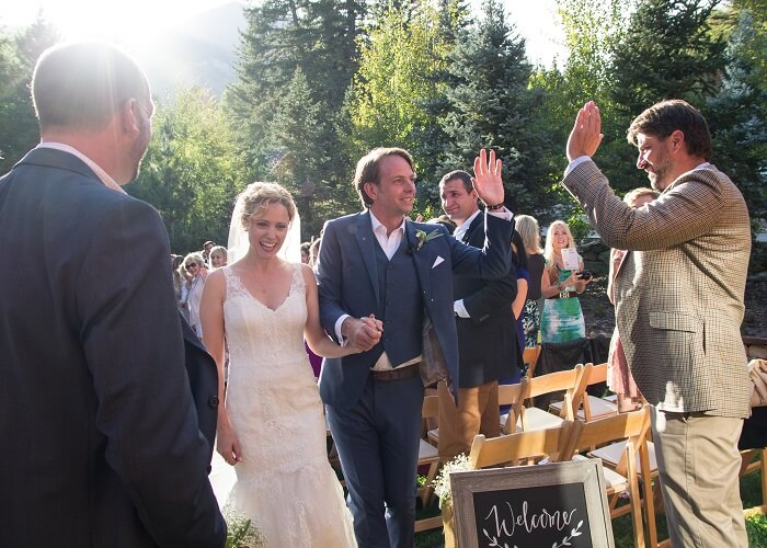 Annie and Mark at their wedding in Sundance
